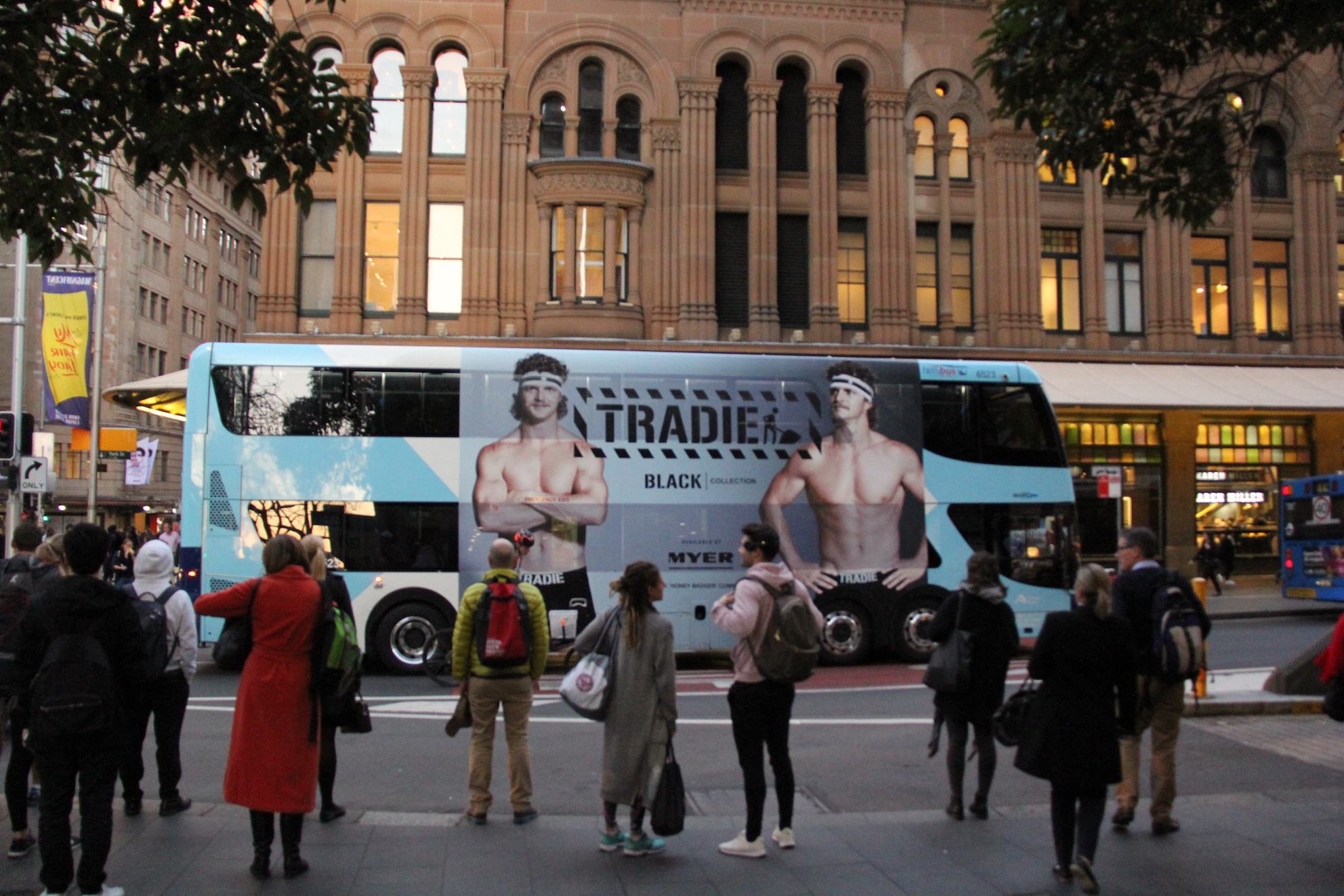 Moving billboard advertising Tradie underwear out of home media